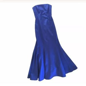 Cache Long Maxi Dress Royal Blue Strapless Formal
